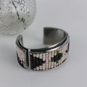Beaded Silver tone Cuff Bracelet